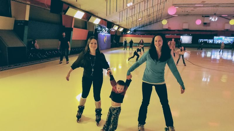 Melissa Roller Skating with a Friends & Her Son