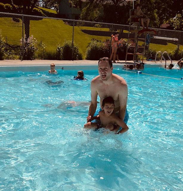 Luke & Our Nephew at the Pool