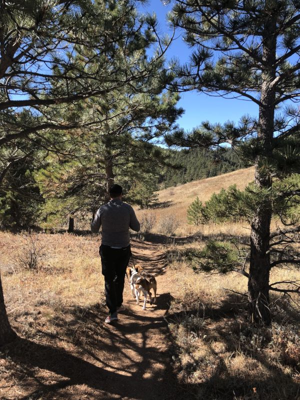 Adam Running the Trails with Our Dogs