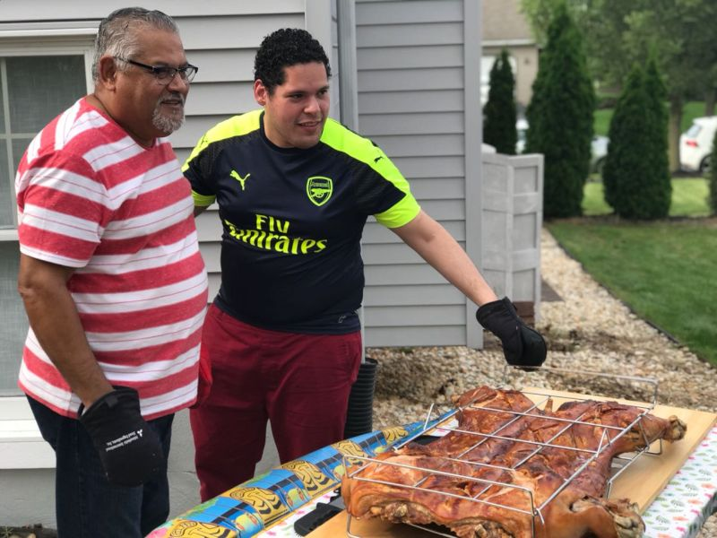 Carlos Loves Roasting Pigs with His Dad