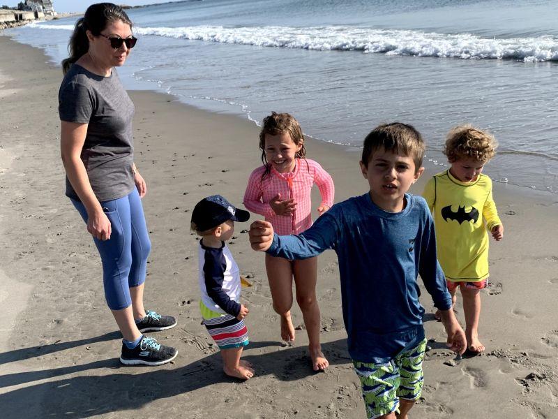 Caroline with Niece and Nephews on the Beach