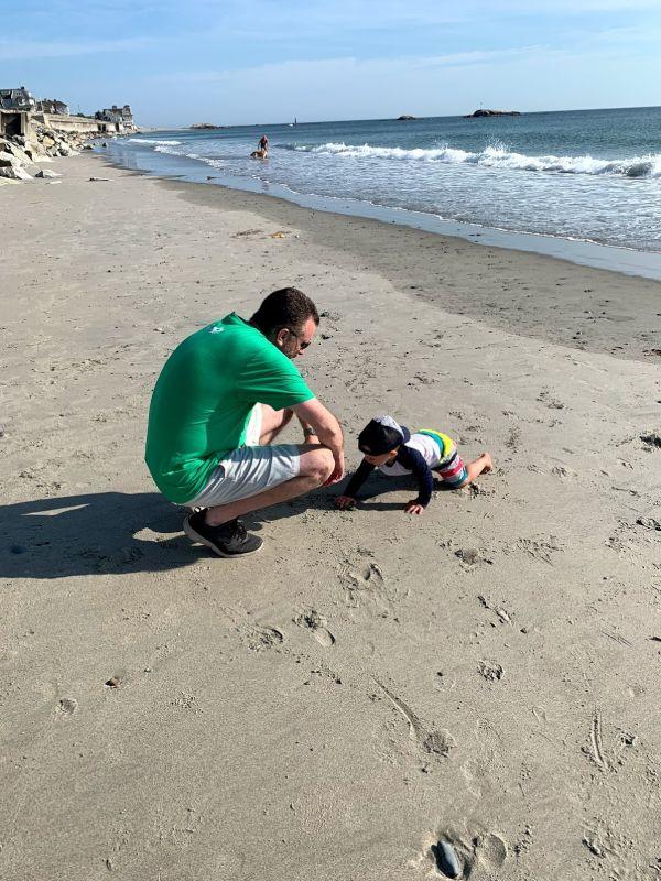 On the Beach with Nephew Bo