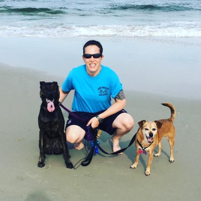 Kristen With Josie & Gracie on the Beach