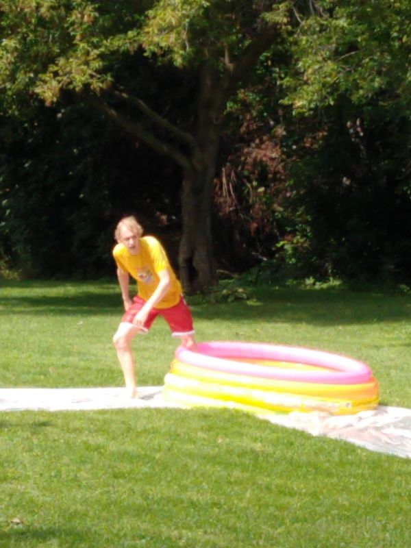 Rounding Second Base in a Game of Kiddie Pool Kickball