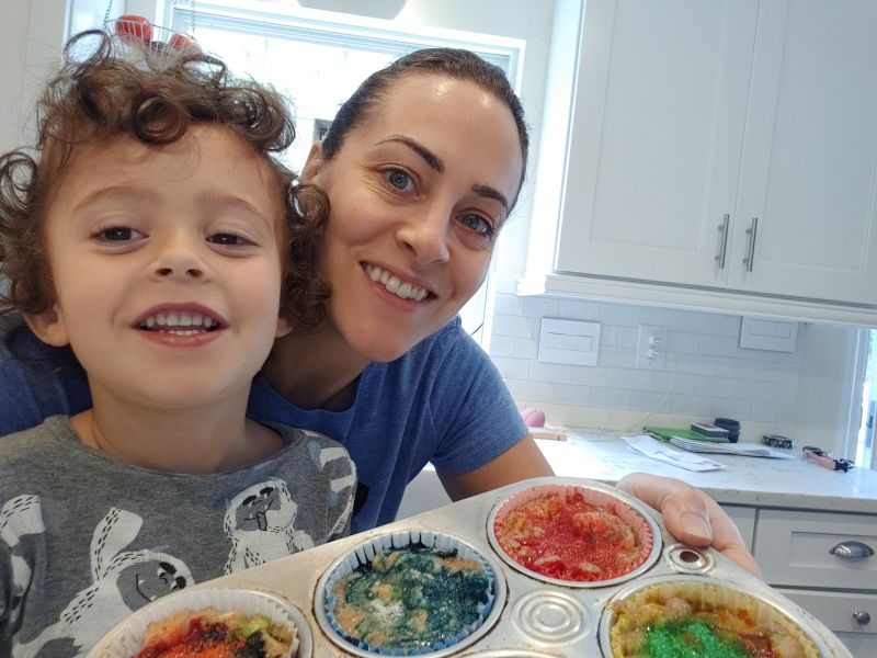 Making Colored Cupcakes With Our Nephew