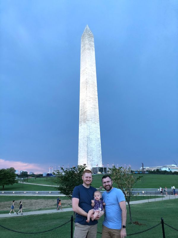 In Front of the Washington Monument on a Family Vacation