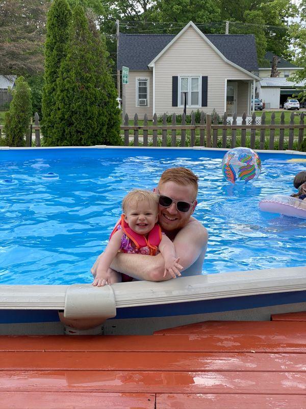 David & Quinn in the Pool