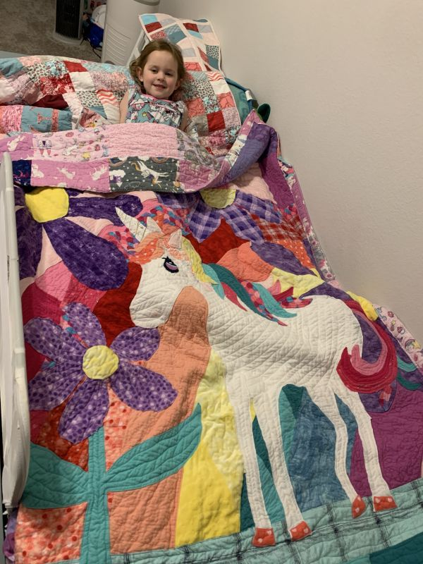 Debra Made This Unicorn Quilt for Evelyn
