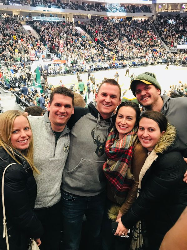 Cheering on the Milwaukee Bucks with Dave's Family