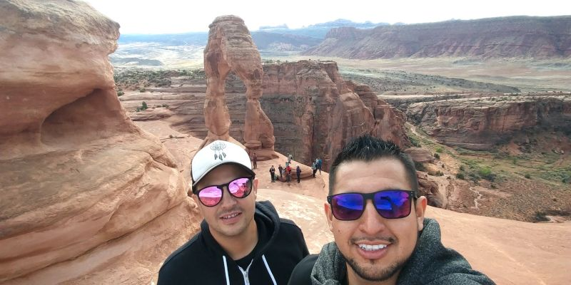 Broque Hiking With a Friend in Moab