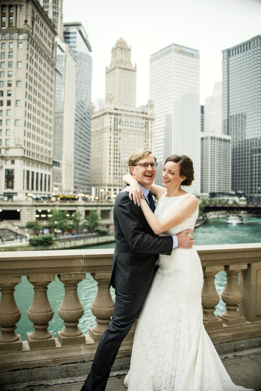 On Our Wedding Day Along the Chicago River