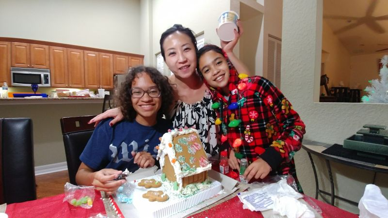 Making a Gingerbread House with Our Nieces