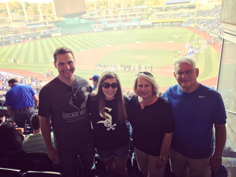 Cheering on the White Sox with Erica's Grandparents