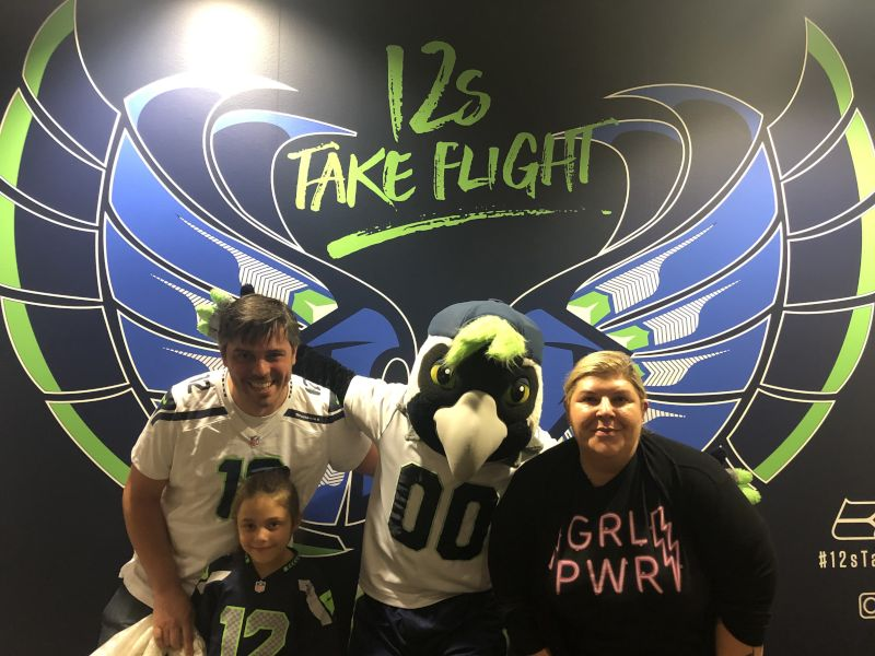 Hanging Out with the Seahawk Mascot