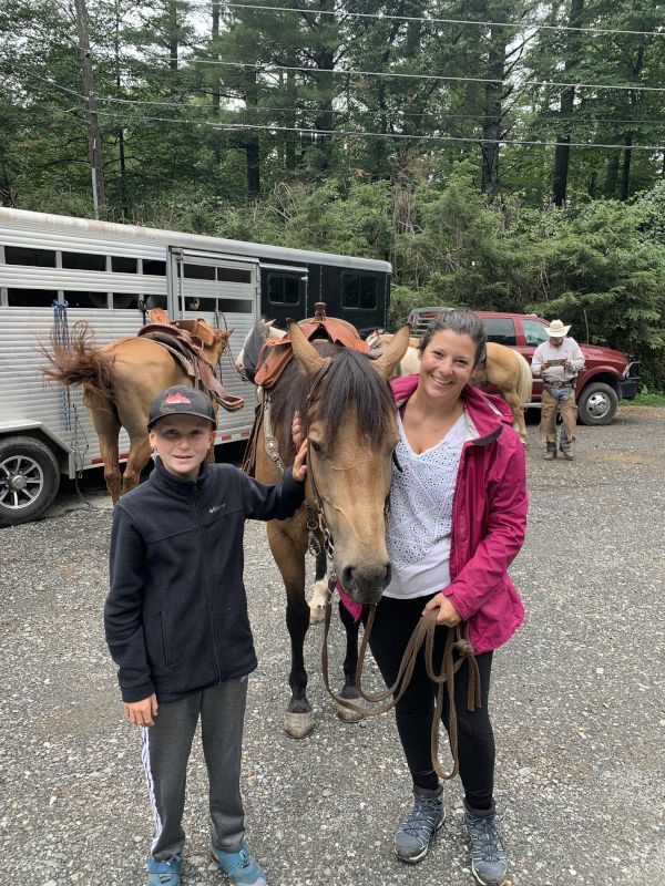 Molly & Charlie Getting Ready for Horseback Riding
