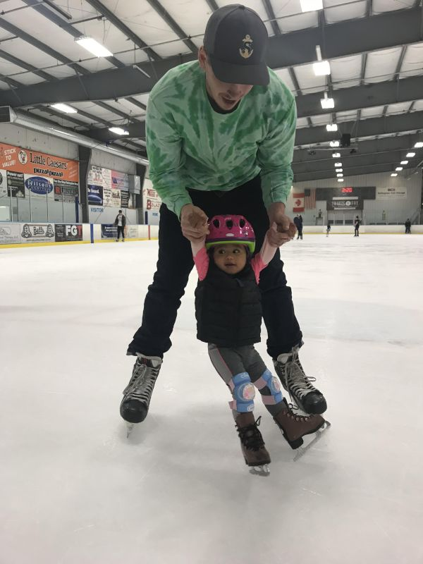 Ice Skating with Her Daddy