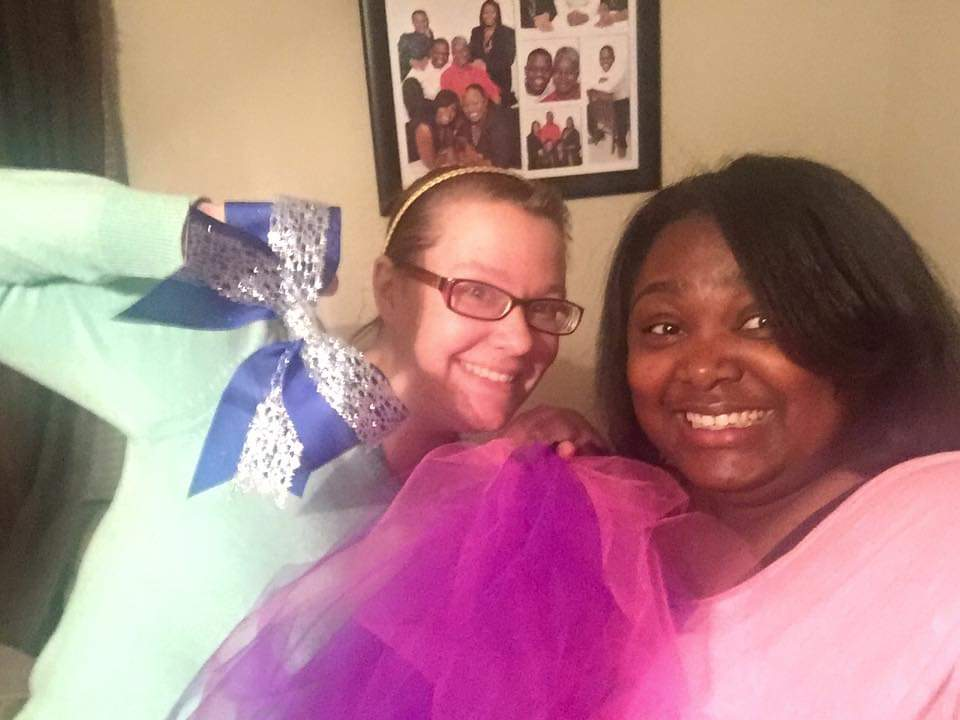 Donna & a Friend Making Bows & Tutus for the Dance Team