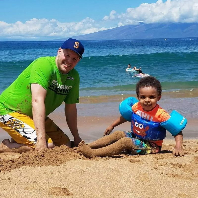 Playing in the Sand in Maui