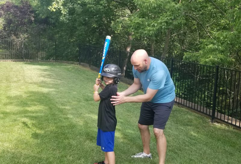 Batting Practice with Our Nephew