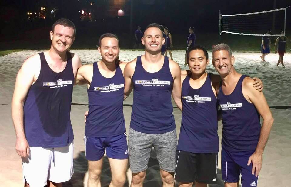 Mark with His Sand Volleyball Team