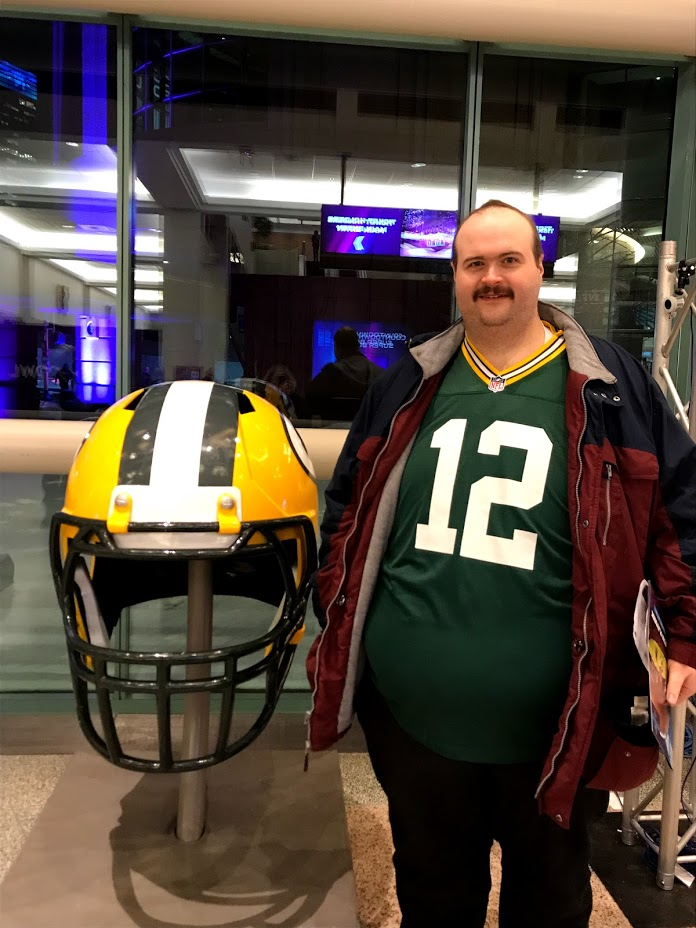 Mel with his Favorite Team's Helmet at the NFL Experience