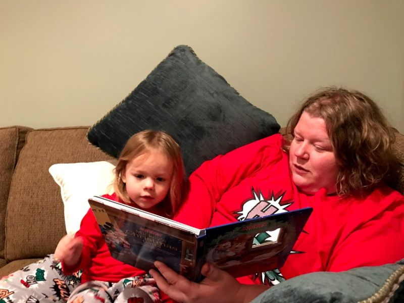 Reading to Eliana on Christmas Eve