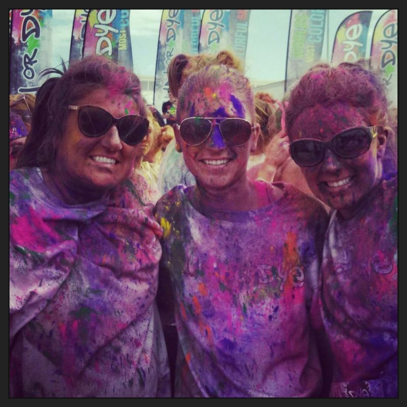 Ashley With Her Mom & Sister After a Color Run 5K
