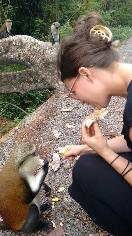 Clare Feeding a Monkey