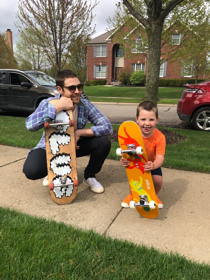 Kevin & Our Nephew with Their Skateboards