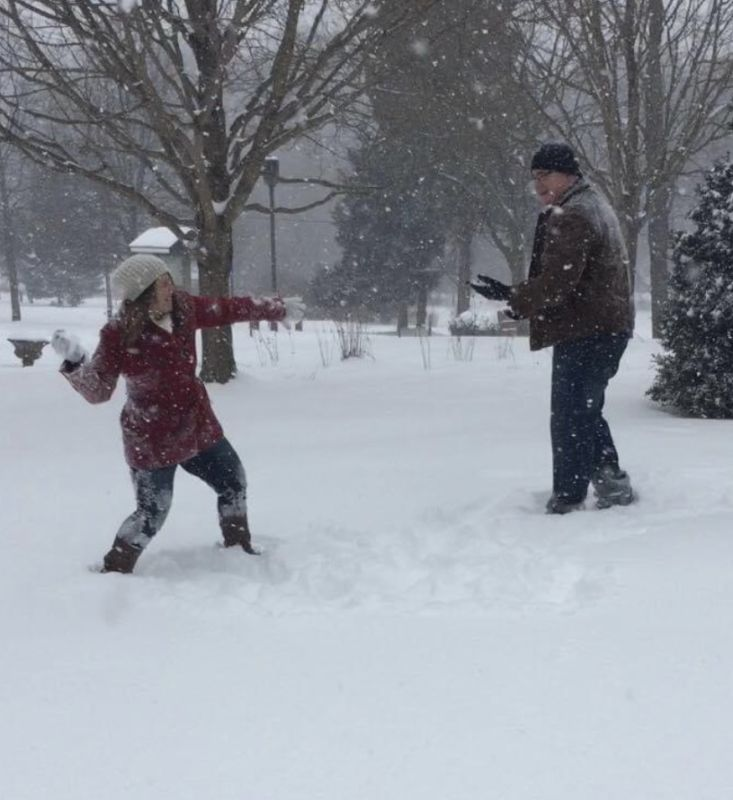 You're Never Too Old for a Snowball Fight!
