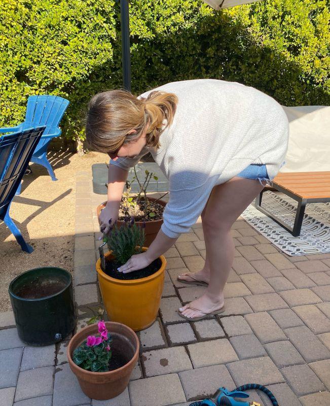 Constance Enjoying Some Gardening