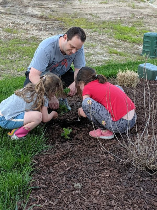 Planting Flowers With Friends' Kids