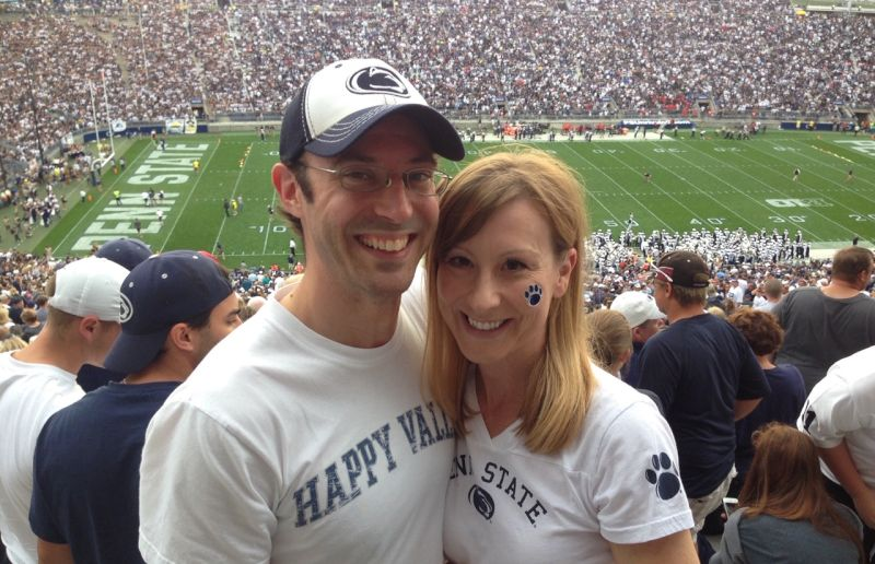 Cheering on the Penn State Football Team
