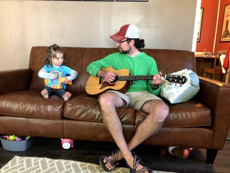 John & Willow Playing Guitar