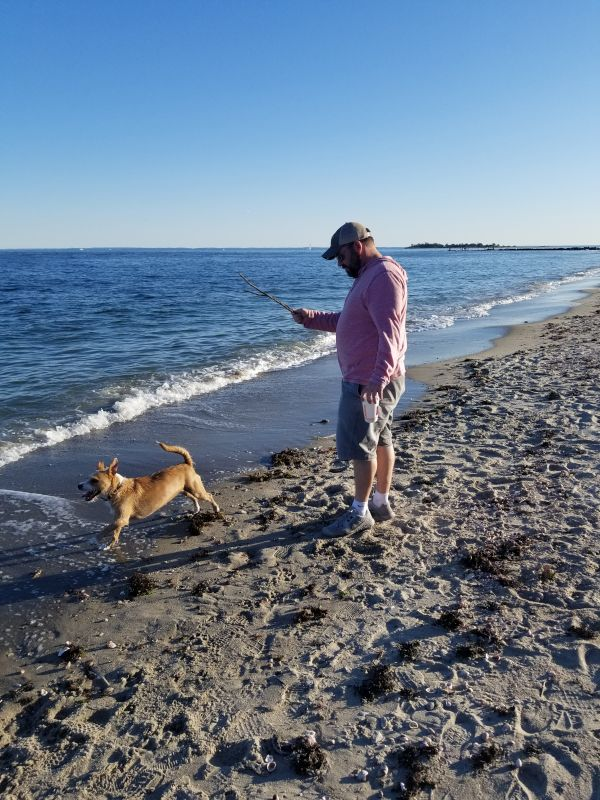 Jason & Cosmo Playing Fetch at the Beach