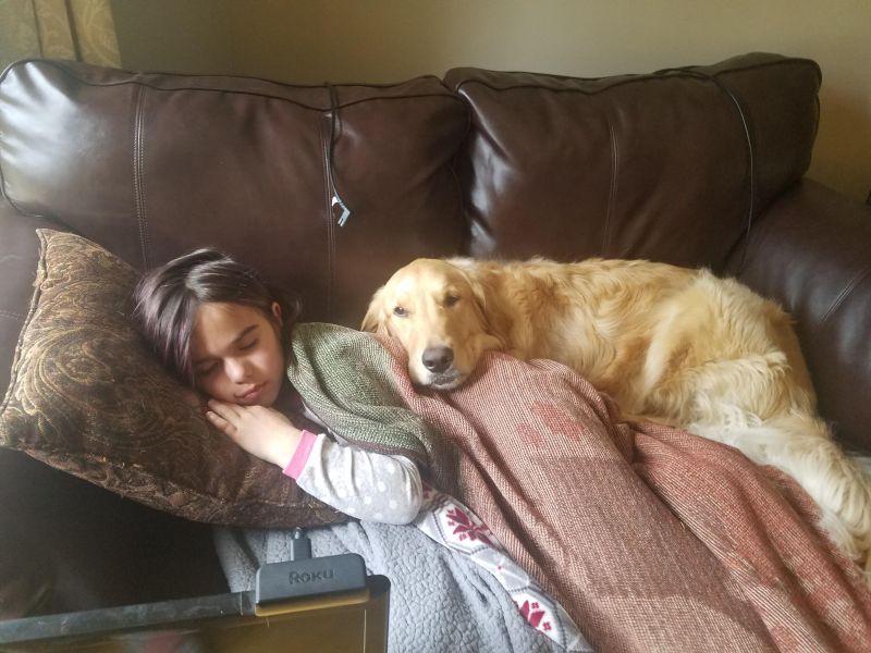 Mango Sleeping with Annabelle