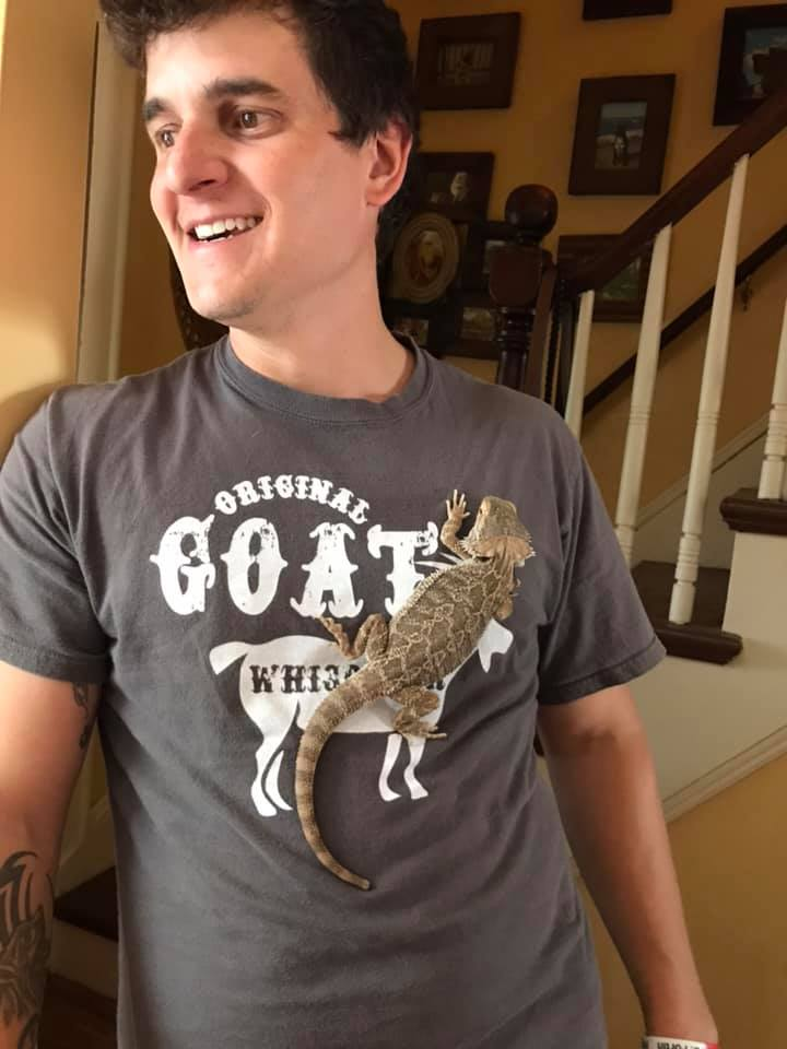 Eric Hanging Out With Our Pet Bearded Dragon
