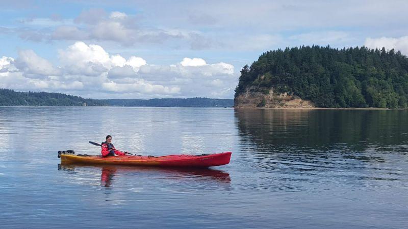 Allison Kayaking in the Ocean