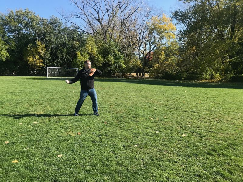 Playing Catch in the Neighborhood Park