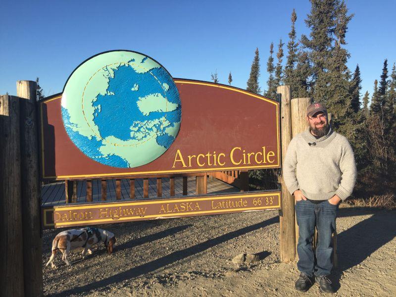 Tim at the Arctic Circle