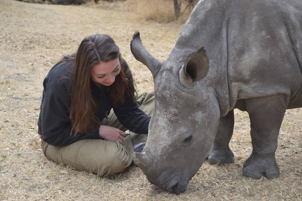 Sabrina in South Africa With a White Rhino