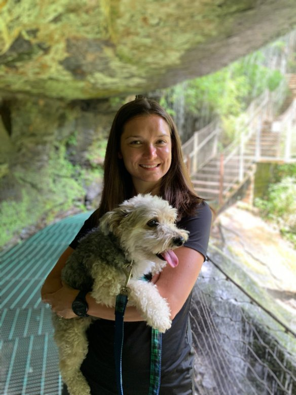 Exploring a Waterfall on a Hike With Wrigley