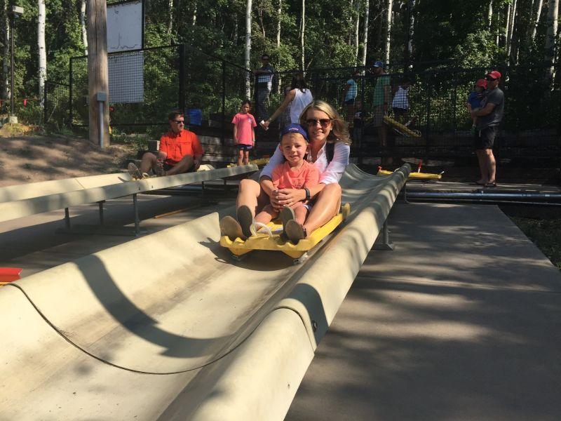 Riding the Alpine Slide in Park City
