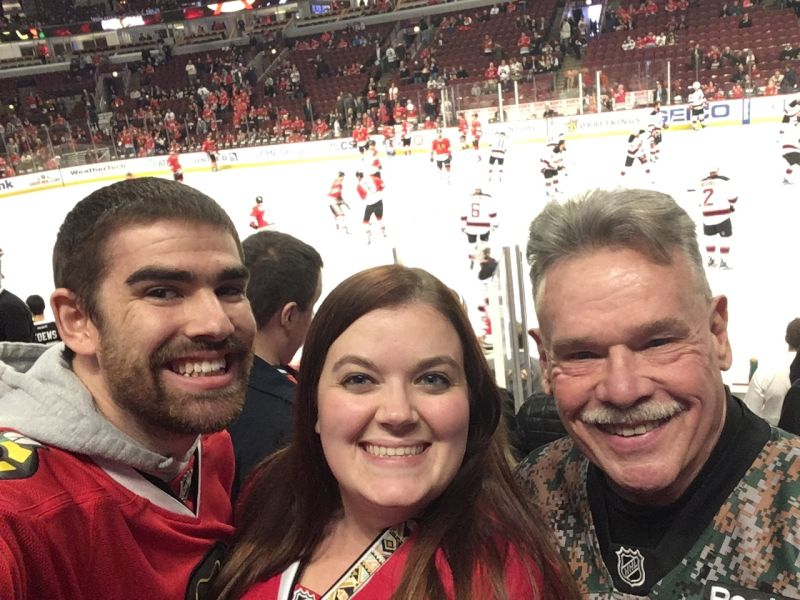 Cheering on the Blackhawks with Brittany's Step-dad