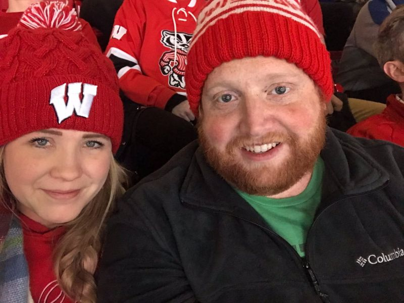 Cheering on the Wisconsin Badger Hockey Team