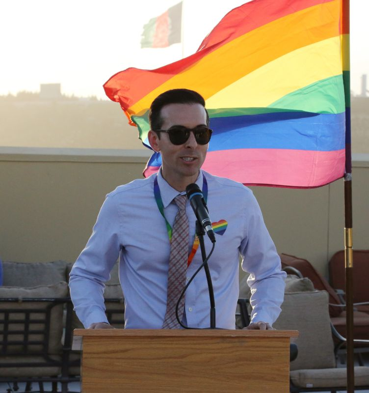 Brandon Speaking at LGBT Pride Month at the Embassy in Afghanistan