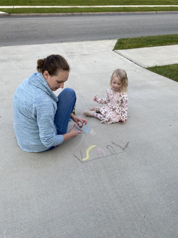 Sidewalk Chalk With Leah's Goddaughter
