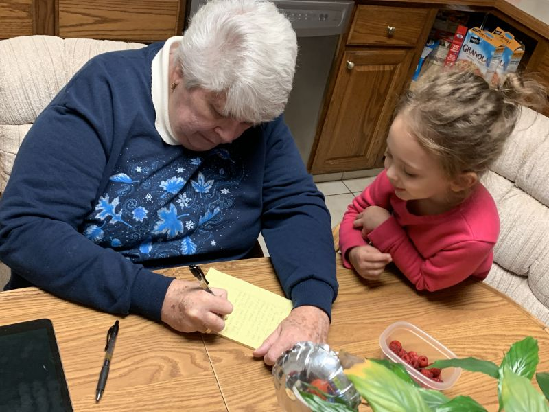 Writing a Letter to Santa With Grandma