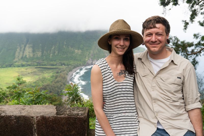 Preparing to Trek Down to the Black Sands in Hawaii