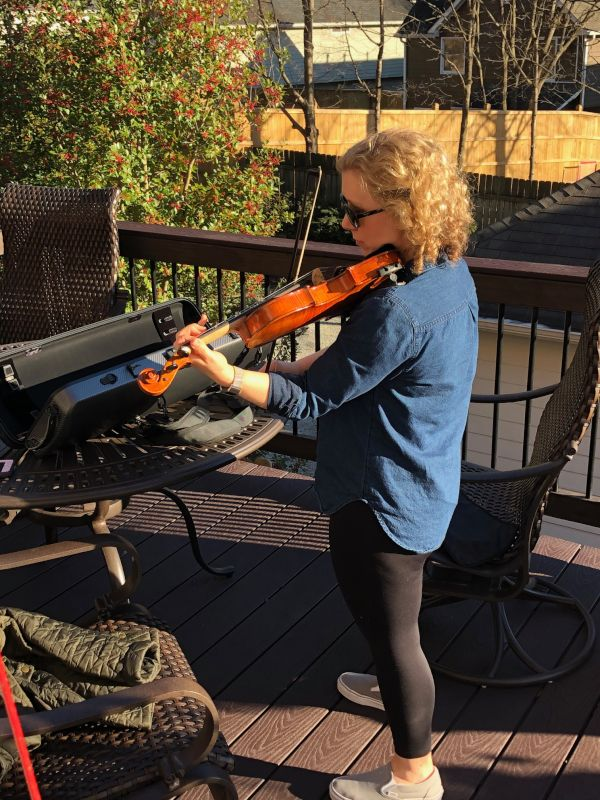 Dena Practicing Her Fiddle
